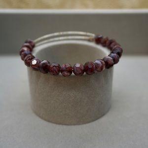 Alex and Ani Purple Sunburst Beaded Bracelet